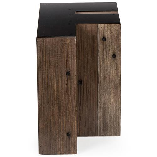 Bea Industrial Loft Alphabet Letter F Wood Side Table | Kathy Kuo Home