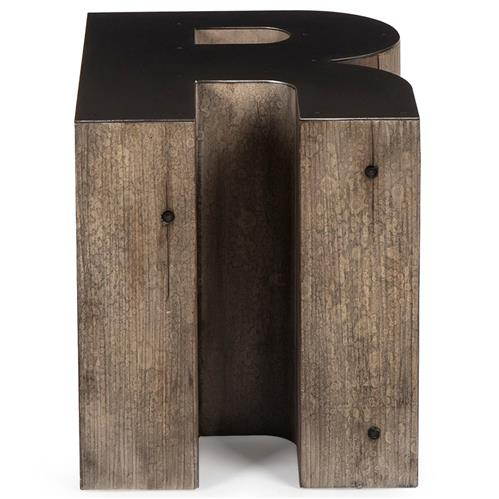 Bea Industrial Loft Alphabet Letter R Wood Side Table | Kathy Kuo Home