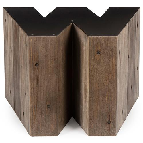 Bea Industrial Loft Alphabet Letter W Wood Side Table | Kathy Kuo Home