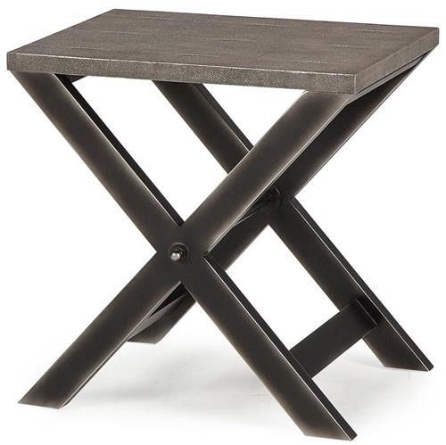 Billie Modern Classic Faux Shagreen Cross Leg Metal Side Table | Kathy Kuo Home