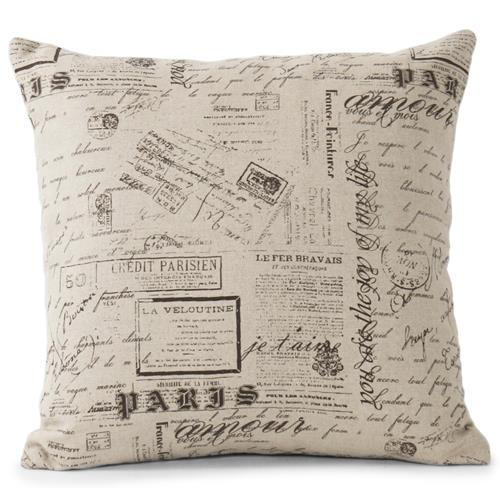 French Country Literary Script Natural Linen Pillow - 20x20 | Kathy Kuo Home