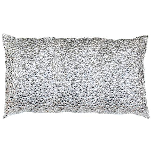 Nikki Silver Jeweled Beaded Pillow - 12x20 | Kathy Kuo Home
