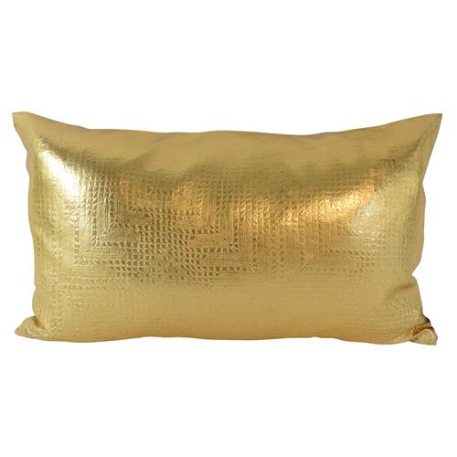 Jett Geometric Gold Faux Leather Pillow - 12x20 | Kathy Kuo Home
