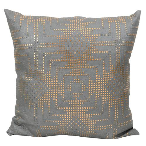 Jett Aztec Rose Gold Grey Faux Leather Pillow - 20x20 | Kathy Kuo Home