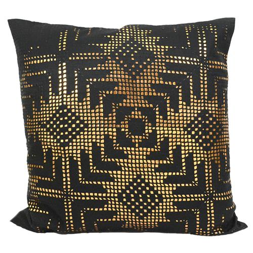 Jett Aztec Gold Black Faux Leather Pillow - 20x20 | Kathy Kuo Home