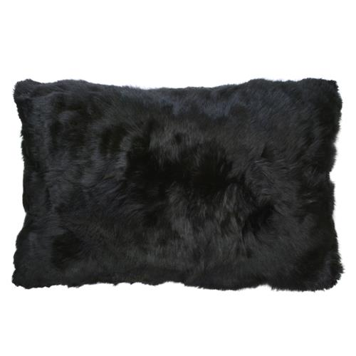 Roberta Black Peruvian Alpaca Fur Pillow - 12x20 | Kathy Kuo Home