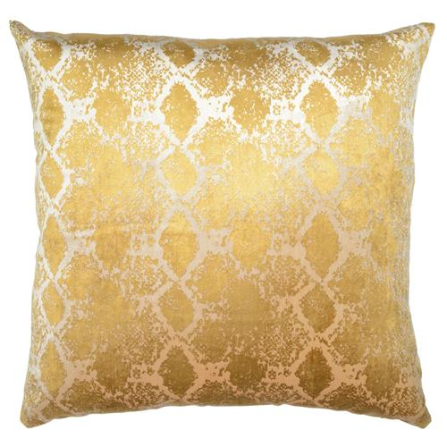 Jem Boa Print Gold Satin Pillow - 20x20 | Kathy Kuo Home
