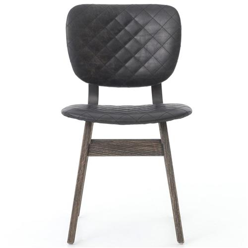 Drifter Industrial Loft Black Leather Quilt Charcoal Dining Chair | Kathy Kuo Home