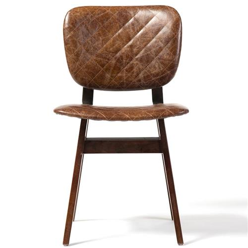 Drifter Industrial Loft Brown Leather Quilt Oak Dining Chair | Kathy Kuo Home