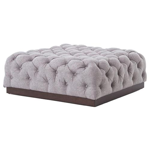 Torry Modern Classic Tufted Pewter Grey Fabric Wood Ottoman | Kathy Kuo Home