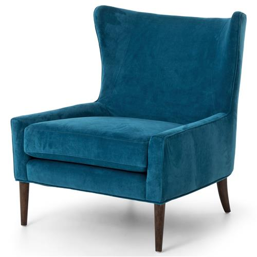Paola Mid Century Peacock Blue Velvet Wing Lounge Chair | Kathy Kuo Home