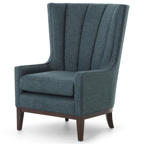 Rollins Modern Arm Chair Blue: Vida Modern Classic Dark Peacock Teal Fabric Wood Wing