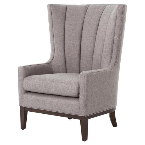 Vida Modern Classic Gray Vertical Channel Wing Back Accent Armchair | Kathy Kuo Home