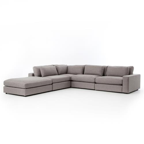 Fatima Modern Classic Grey 4 Piece Sectional Sofa | Kathy Kuo Home