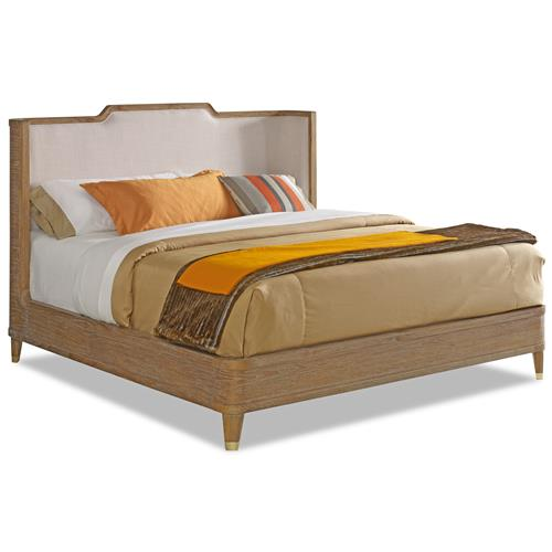 Cullen Modern Classic Brown Teak Cream Linen Bed  Queen | Kathy Kuo Home