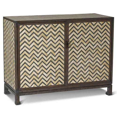 Bukit Global Bazaar Grey Bone Herringbone 2 Door Cabinet | Kathy Kuo Home
