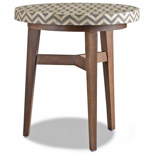Bukit Global Bazaar Grey Bone Herringbone Side Table | Kathy Kuo Home