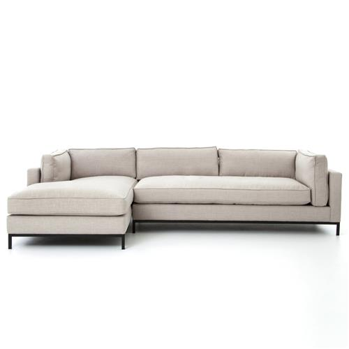 Diorama Modern Classic Light Grey Left Arm Chaise Sectional Sofa | Kathy Kuo Home
