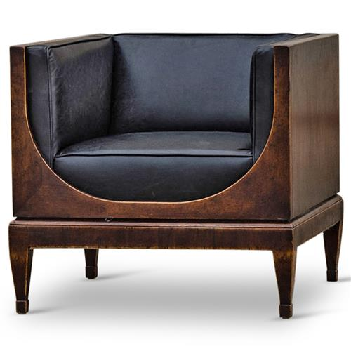 Frasier Modern Classic Black Leather Brown Walnut Armchair | Kathy Kuo Home