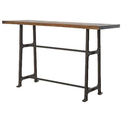 Wolcott Industrial Loft Iron Bleached Oak Dining Bar Table | Kathy Kuo Home