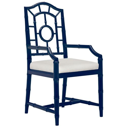 Bungalow 5 Chloe Hollywood Regency Linen Blue Chippendale Dining Arm Chair | Kathy Kuo Home