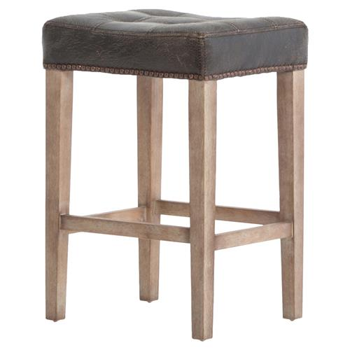 Milton Distressed Black Leather Tufted Counter Stool | Kathy Kuo Home