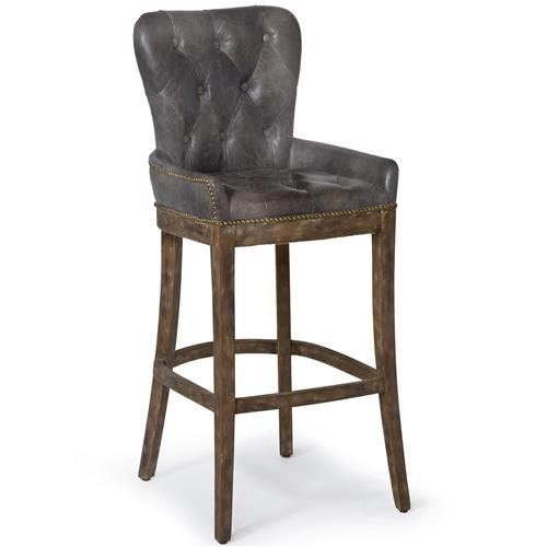 Liddy Rustic Lodge Antique Ebony Leather Tavern Bar Stool | Kathy Kuo Home