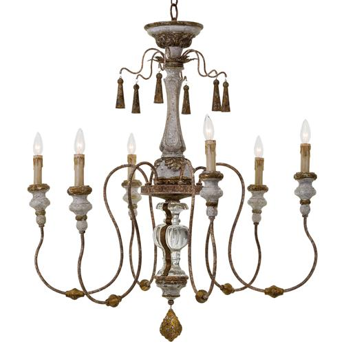 Regina Andrew Maison French Country Distressed Rustic 6 Light Chandelier | Kathy Kuo Home