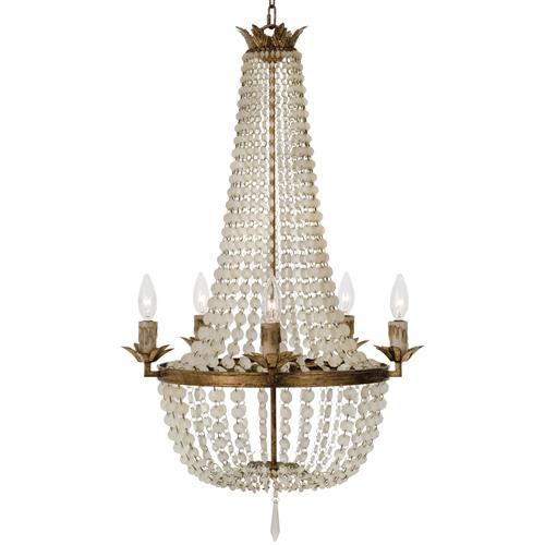 Diane French Country Ivory Bead Antique Gold 5 Light Chandelier | Kathy Kuo Home