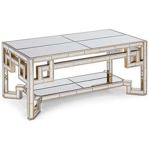 Alice Hollywood Gold Lattice Antique Mirror Coffee Table Kathy Kuo Home