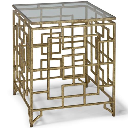 Phyllis Hollywood Regency Brass Iron Grill Abstract End Table | Kathy Kuo Home