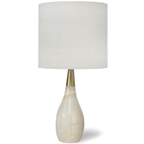 Ina Modern Classic Alabaster Tear Drop Brass Table Lamp | Kathy Kuo Home