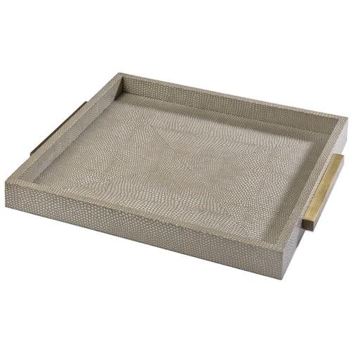 Uma Modern Classic Faux Python Ivory Grey Square Tray | Kathy Kuo Home