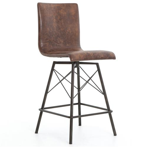 Crenshaw Industrial Loft Iron Leather Counter Stool | Kathy Kuo Home