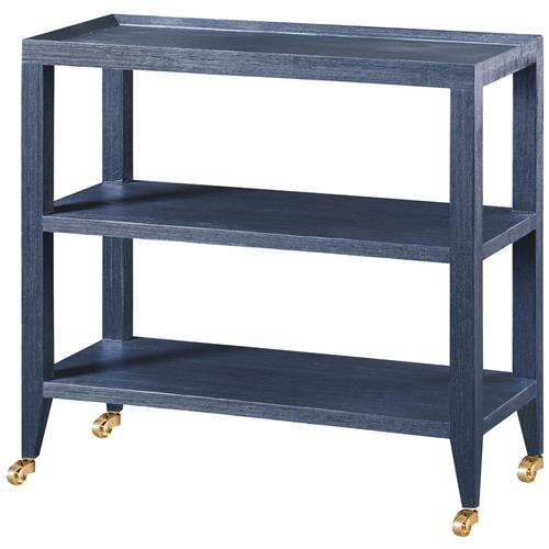 Delen Modern Blue Lacquer Grasscloth Casters Console Table | Kathy Kuo Home
