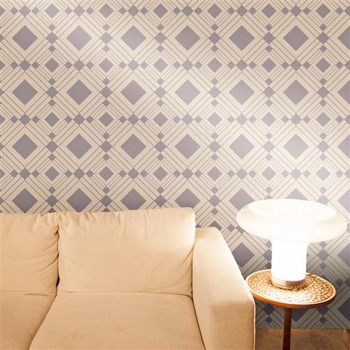 Diamond modern classic taupe silver geometric removable for Metallic removable wallpaper