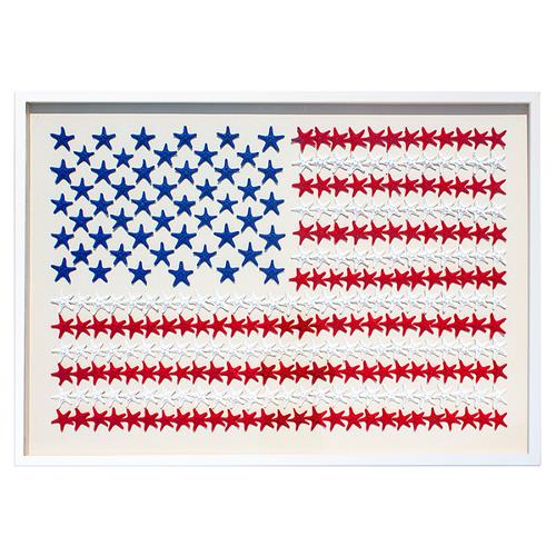 American Flag Coastal Starfish Wall Decor