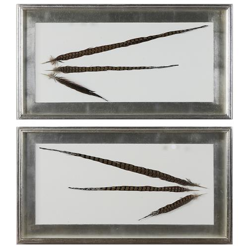 Faisan Modern Classic Dipped Feather Shadow Box Wall Decor - Pair | Kathy Kuo Home