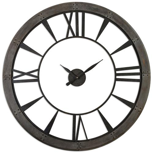 Shane Industrial Loft Silhouette Rustic Bronze Wall Clock | Kathy Kuo Home