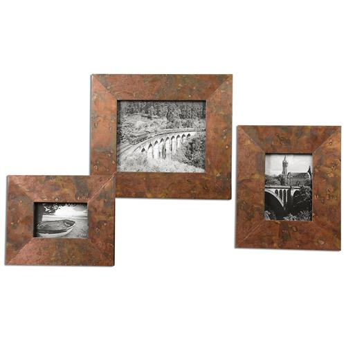 Canyon Industrial Loft Marbled Copper Photo Frames - Set of 3 | Kathy Kuo Home