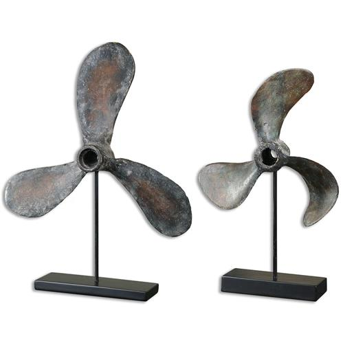 Arnie Coastal Beach Antique Boat Propeller Sculpture - Set of 2 | Kathy Kuo Home