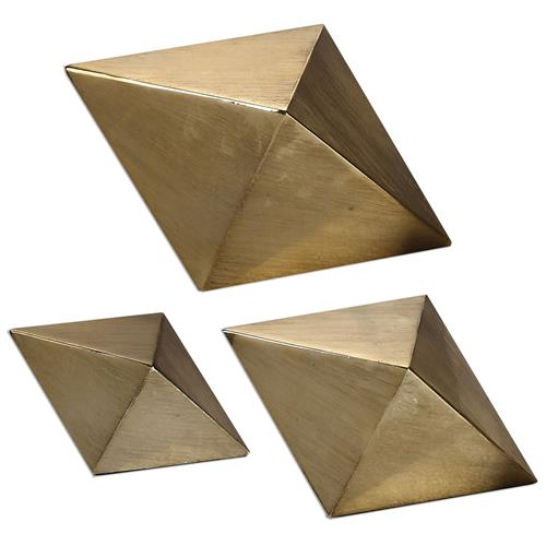 Lexi Hollywood Regency Champagne Rhombus Sculptures - Set of 3 | Kathy Kuo Home