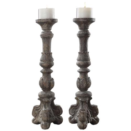Bastia French Country Antique Grey Candle Stick - Set of 2 | Kathy Kuo Home