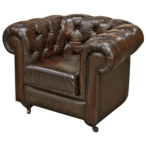 Ace Rustic Lodge Tufted Dark Brown Leather Casters Armchair | Kathy Kuo Home