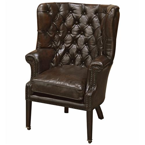 Gunther industrial loft tufted dark brown leather armchair kathy kuo home
