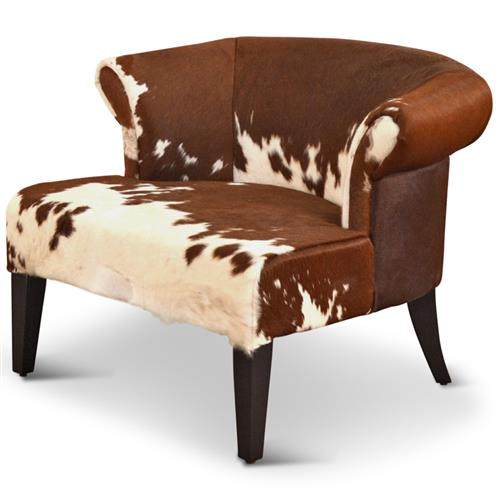 Arama Rustic Lodge Brown White Cowhide Wood Living Room Armchair | Kathy Kuo Home