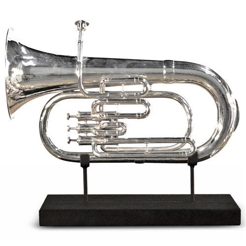 Hickman Industrial Loft Nickel Trumpet On Metal Stand Sculpture | Kathy Kuo Home