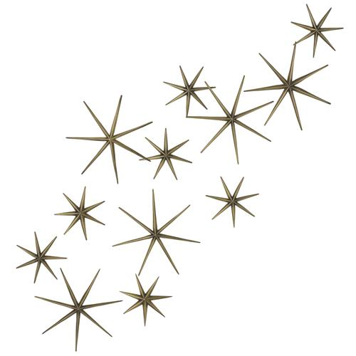Stellato Mid Century Brass Star Wall Sculptures - Set of 12 | Kathy Kuo Home