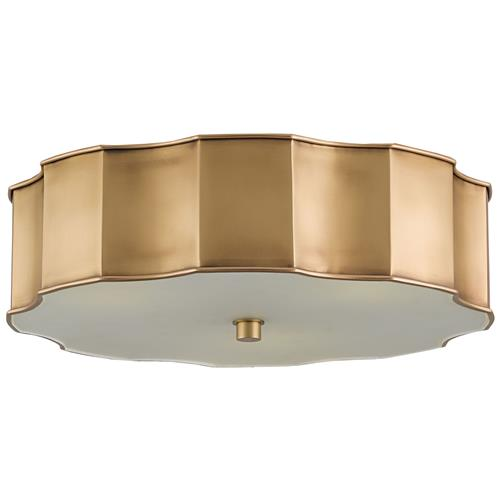 Alastor Modern Classic Antique Brass Scallop Ceiling Mount | Kathy Kuo Home