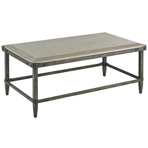 Decatur industrial loft concrete antique steel coffee - Table basse metal industriel loft ...